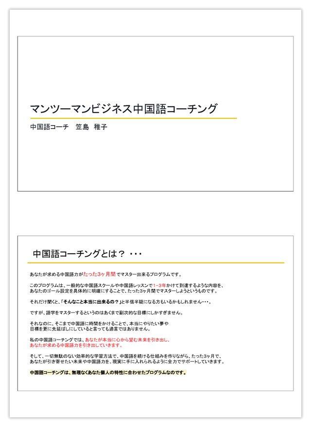 「マンツーマンビジネス中国語コーチング」PDF